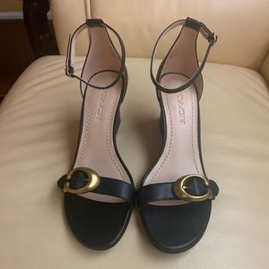 NIB Women's Coach Odetta Wedge Black Sandals 7.5